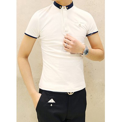Гаджет   Slimming Color Block Turn-down Collar Breast Pocket Design Short Sleeves Men