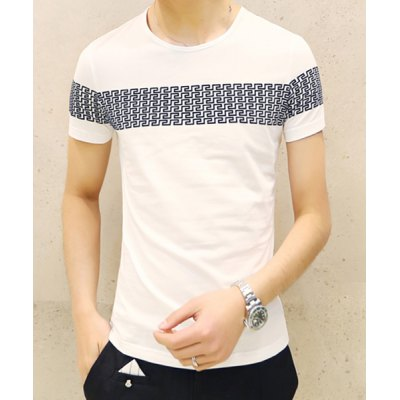 Гаджет   Laconic Round Neck Geometric Print Slimming Solid Color Short Sleeves Men