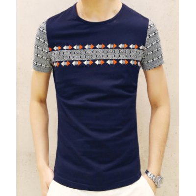 Гаджет   Slimming Round Neck Geometric and Arrows Print Short Sleeves Men