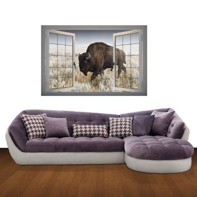 Yak in Field Landscape 3D Art Wall Decals / Removable Vinyl Stickers for Home / Office