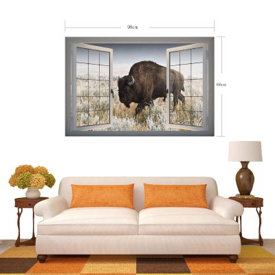 Фотография Yak in Field Landscape 3D Art Wall Decals / Removable Vinyl Stickers for Home / Office
