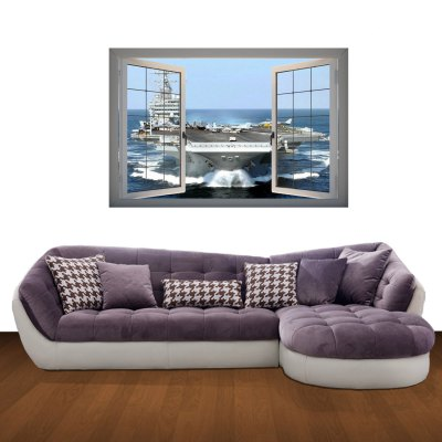 Гаджет   Aircraft Carrier Scene 3D Art Wall Decals / Removable Vinyl Stickers for Home / Office Home Decor