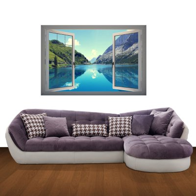 Гаджет   Lake Landscape 3D Art Wall Decals / Removable Vinyl Stickers for Home / Office