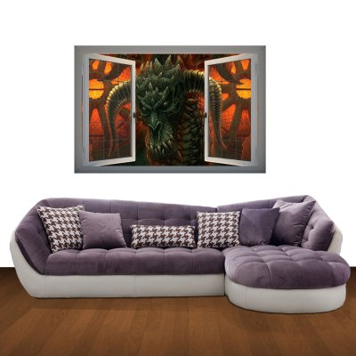 Гаджет   Chinese Dragon Picture 3D Art Wall Decals / Removable Vinyl Stickers for Home / Office