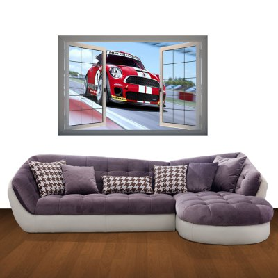 Гаджет   Fashion Removable Vinyl 3D Wall Stickers Decals with Racing Car Landscape Home Decor