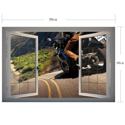 Фотография Motorcycle on the Way Scene 3D Art Wall Decals / Removable Vinyl Stickers for Home / Office