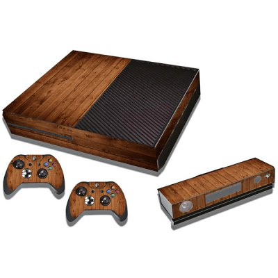 Protective Game Player and Controller Skin Sticker with Wood Pattern for Xbox One