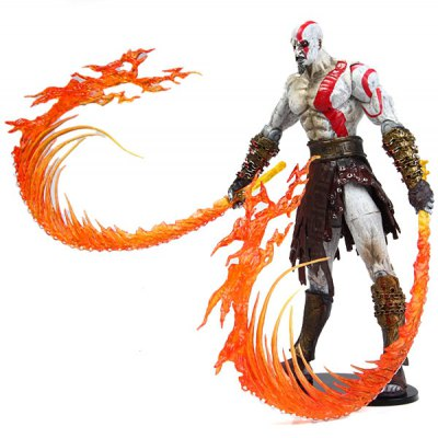 20cm Kratos Model Doll Toy God of War Action Figure with Two Flames and 2 Broadswords