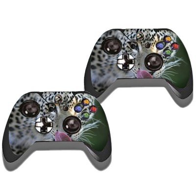 Protective Game Player and Controller Skin Sticker with Leopard Pattern for Xbox One