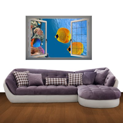 ФОТО Tropical Fish Pattern Home Appliances Decoration 3D Wall Sticker