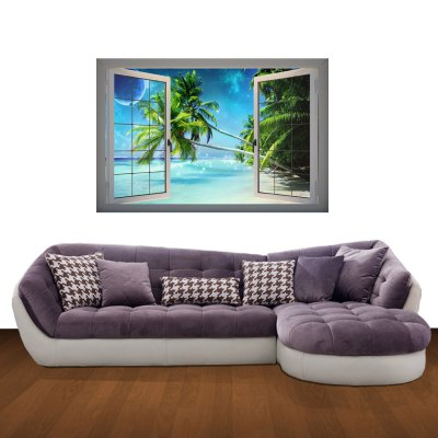 Гаджет   Beach at Night Pattern Home Appliances Decoration 3D Wall Sticker Home Decor