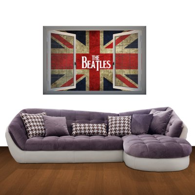 The Beatles Flag Pattern Home Appliances Decoration 3D Wall Sticker