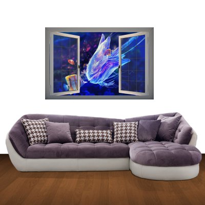 Фотография Jellyfish Pattern Home Appliances Decoration 3D Wall Sticker