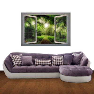 ФОТО Walk in the Woods Pattern Home Appliances Decoration 3D Wall Sticker