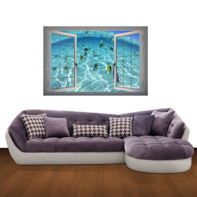 ФОТО Tropical Fish in Sea Pattern Home Appliances Decoration 3D Wall Sticker