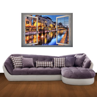 ФОТО River Bank Night View Pattern Home Appliances Decoration 3D Wall Sticker