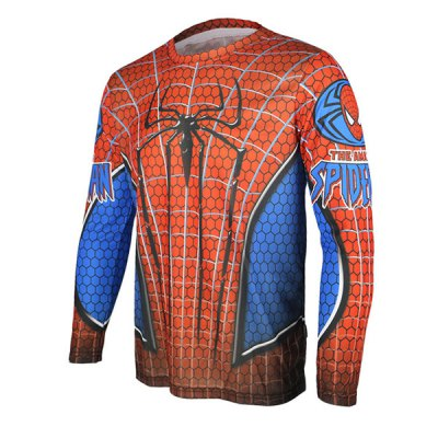 Гаджет   Arsuxeo Breathable Men Cycling Jersey Long Sleeve T - shirt Spider - man Style Thermal Transfer Sports Running Clothes