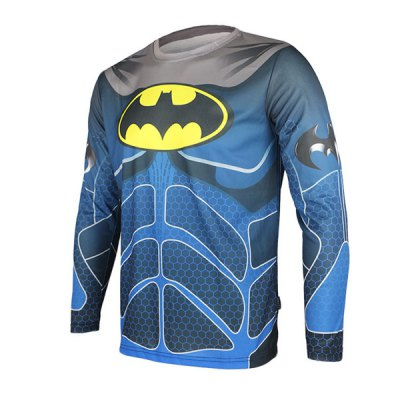 Arsuxeo Breathable Men Cycling Jersey Long Sleeve T - shirt Batman Style Thermal Transfer Sports Running Clothes