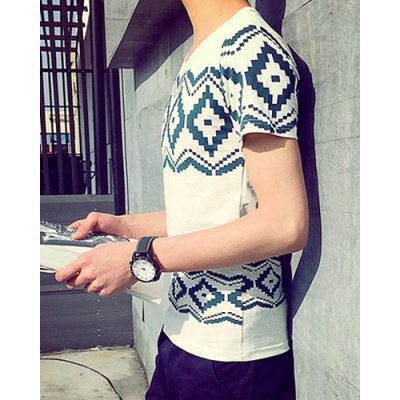 Гаджет   Casual Round Neck Ethnic Geometric Print Slimming Short Sleeves Men