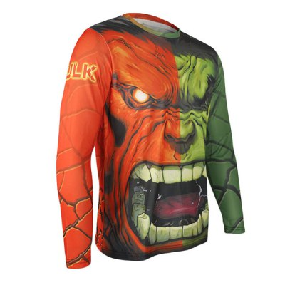 Arsuxeo Breathable Men Cycling Jersey Long Sleeve T - shirt Hulk Style Thermal Transfer Sports Running Clothes