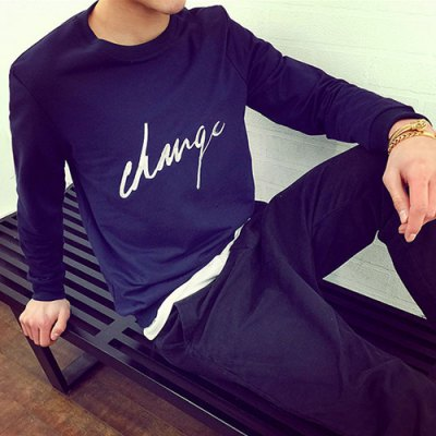 Гаджет   Laconic Round Neck Letters Embroidery Slimming Long Sleeves Men