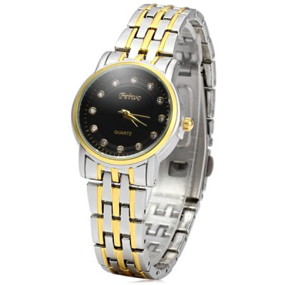 FEIWO 8237 Round Dial Female Quartz Watch Water Resistant Wristwatch