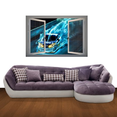 ФОТО Cool Car Pattern Home Appliances Decoration 3D Wall Sticker