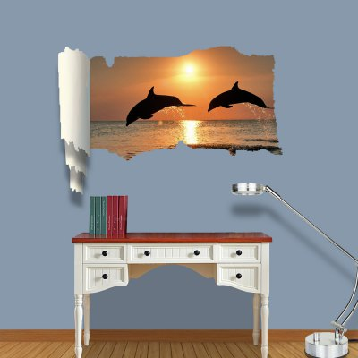 ФОТО Dolphin Lovers Pattern Home Appliances Decoration 3D Wall Sticker