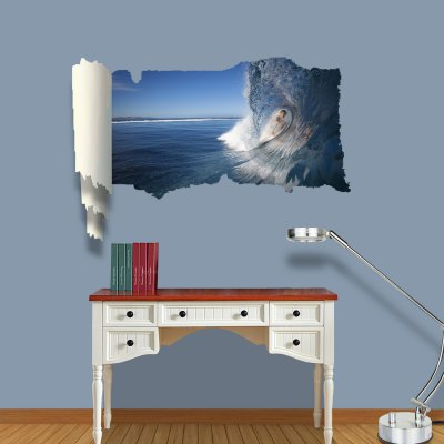 ФОТО Woman Surfing Pattern Home Appliances Decoration 3D Wall Sticker