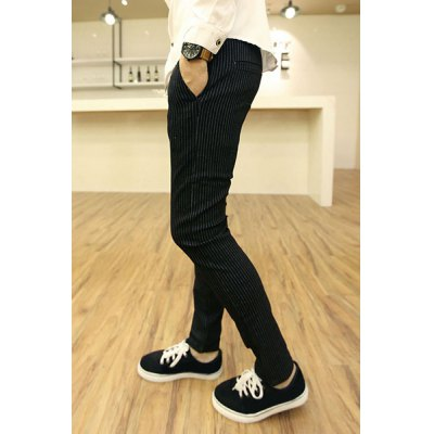 ФОТО Slimming Stylish Lace-Up Vertical Stripe Design Narrow Feet Cotton Blend Harem Pants For Men