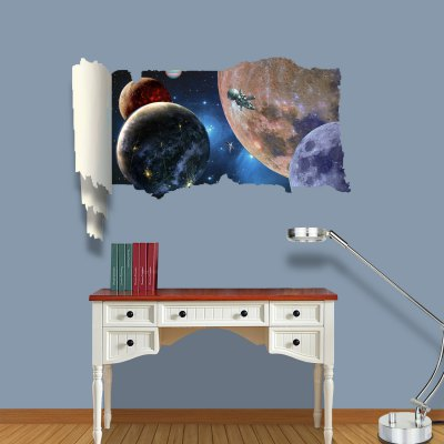 ФОТО Space View Pattern Home Appliances Decoration 3D Wall Sticker
