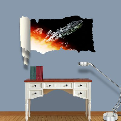 ФОТО Spacecraft Pattern Home Appliances Decoration 3D Wall Sticker