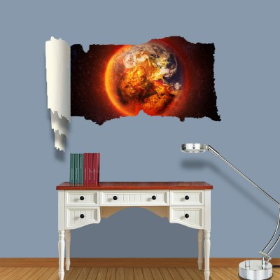 ФОТО Burning Earth Pattern Home Appliances Decoration 3D Wall Sticker