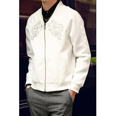 Гаджет   Stylish Stand Collar Embroidery Embellished Slimming Solid Color Long Sleeves Men