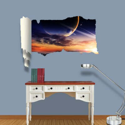 ФОТО Saturn View Pattern Home Appliances Decoration 3D Wall Sticker