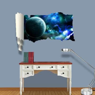 ФОТО Earth in Space Pattern Home Appliances Decoration 3D Wall Sticker