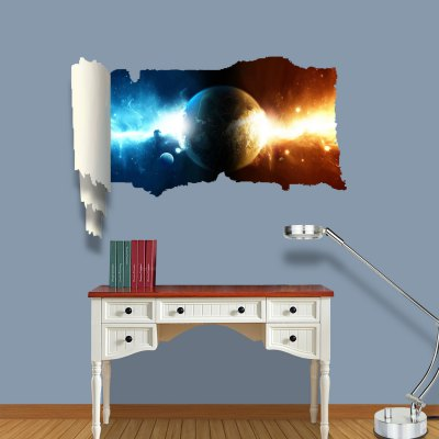 ФОТО Earth of Fire and Ice Pattern Home Appliances Decoration 3D Wall Sticker