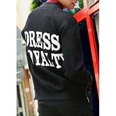 Гаджет   Loose Fit Letters Print Stand Collar Lace Splicing Zipper Embellished Long Sleeves Men