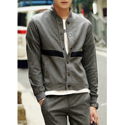 Гаджет   Casual Stand Collar Slimming Stripes Splicing Color Block Long Sleeves Men