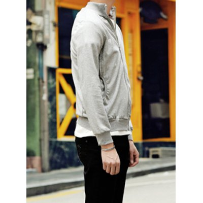 Гаджет   Laconic Stand Collar Paint Dot Slimming Solid Color Zipper Fly Long Sleeves Men