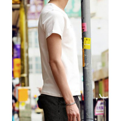Гаджет   Laconic Solid Color Round Neck Letters Print Slimming Short Sleeves Men
