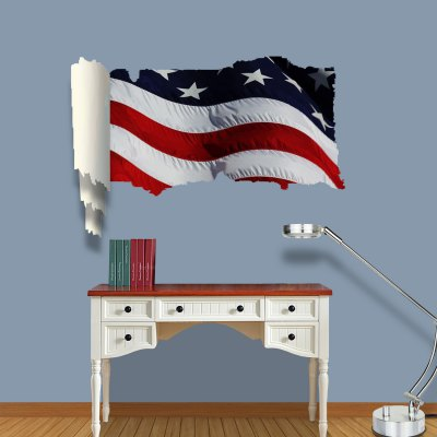 ФОТО American Flag Pattern Home Appliances Decoration 3D Wall Sticker