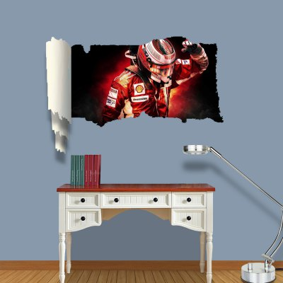 ФОТО Racer Pattern Home Appliances Decoration 3D Wall Sticker