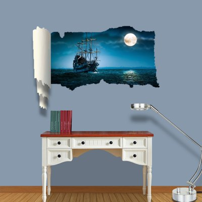 ФОТО Moonlight on the Sea Pattern Home Appliances Decoration 3D Wall Sticker