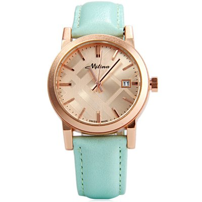 Гаджет   Mitina 262 Female Round Dial Quartz Watch Japan Movt Buckle Wristwatch Women
