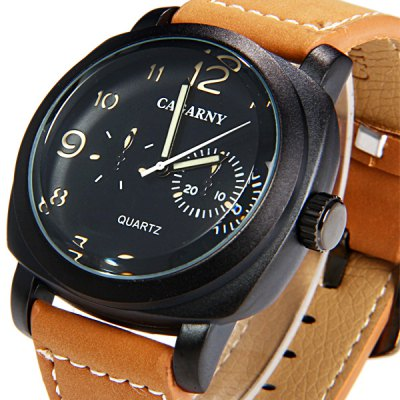 Фотография Cagarny 6833 Male Water Resistant 2 Decorating Hands Japan Movt Quartz Watch with Stainless Steel Back Leather Band Round Dial