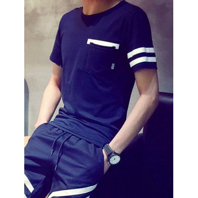 Гаджет   Refreshing Round Neck Letters Print Slimming Pocket Embellished Short Sleeves Men