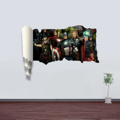 The Avengers Pattern 3D Decals for Walls Home Appliances Decoration