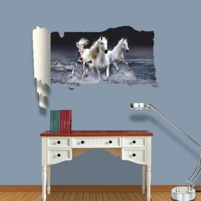 ФОТО Running Horse Pattern Home Appliances Decoration 3D Wall Sticker