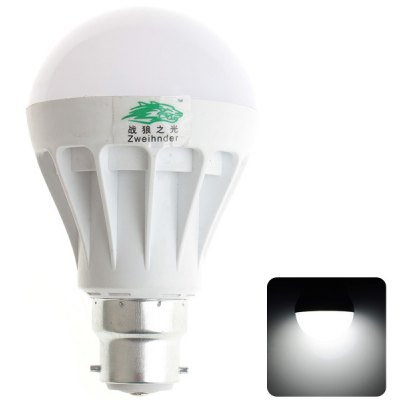 Zweihnder B22 7W SMD 5630 x 15 600Lm 5500  -  6000K White Light LED Ball Bulb AC 220  -  240V